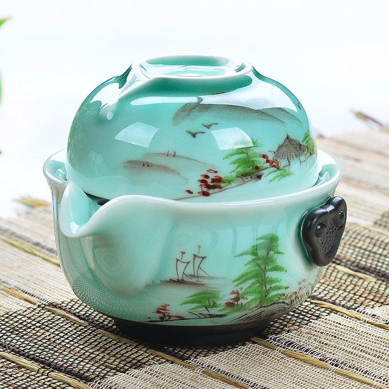 [해외][GRANDNESS] 쿵푸 차 세트 1 냄비 1 컵 Longquan 청자 가이완 Handpainted 쿵푸 차 세트 가완 재스민 녹차 Bi Luo Chun/[GRANDNESS] Kung Fu Tea Set 1 Pot 1 Cup Longquan Celadon Ga