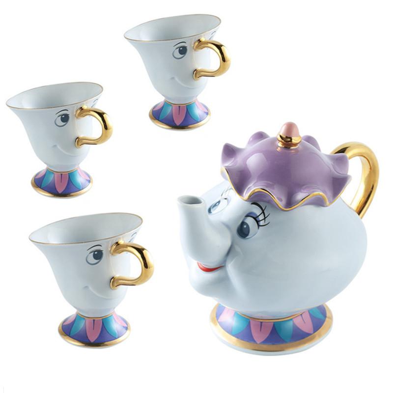 [해외]1 냄비 + 3 컵 만화 아름다움과 야수 커피 주전자 컵 머그잔 부인 Potts 칩 주전자 마크 도자기 18K 금도금 세라믹 선물/1 POT + 3 CUPS Cartoon Beauty And The Beast Coffee Pot Cup Mug Mrs Potts