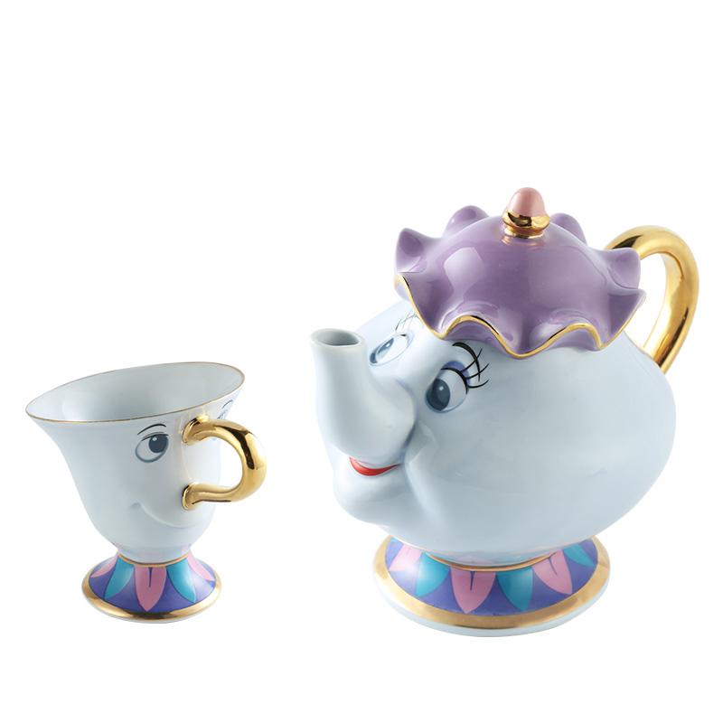 [해외]새로운 스타일 만화 아름다움과 야수 낯 짝 부인 Potts 칩 차 주전자 컵 2PCS 한 세트 러블리 Xmas 선물/New style  Cartoon Beauty And The Beast Mug Mrs Potts Chip Tea Pot Cup 2PCS One S