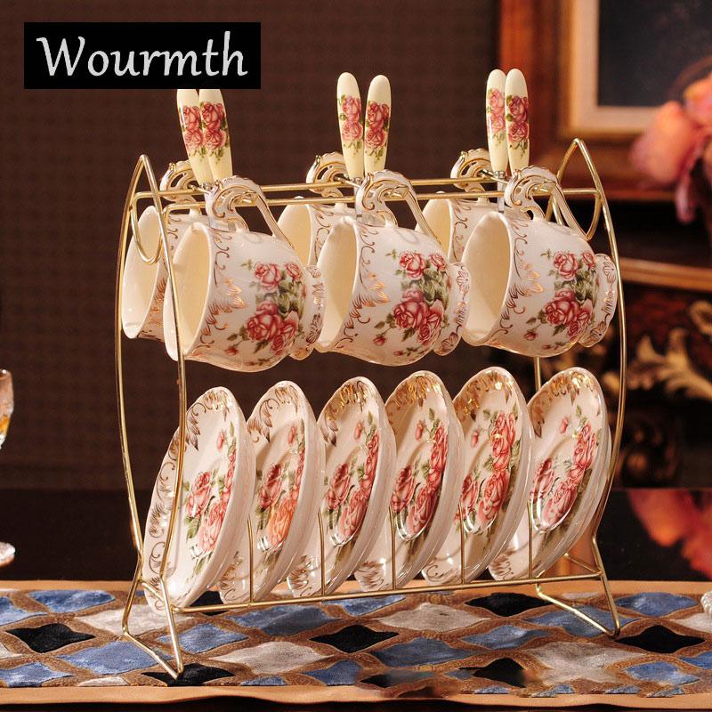 [해외]Wourmth 6 세트 우아한 영국 왕 뼈 장미 / 모란 도자기 커피 컵 세트 애인 머그컵 도자기 티 컵 & amp; 접시 세트 선물/Wourmth 6 Set Elegant British Royal Bone Rose / Peony Ceramic Coffe