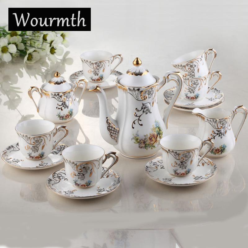 [해외]Wourmth 15 조각 유럽 스타일의 품질 뼈  커피 차 세트 : 1 냄비 + 1 크리머 + 1 설탕 냄비 + 6 컵 +6 접시/Wourmth 15 pieces Europe style quality bone china coffee tea set:1 pot+ 1