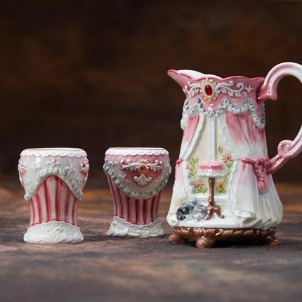 [해외]페어리 페어 차가운 물 냄비 컵 조합 분홍색 탱크 세라믹 꽃병 유럽 집 고양이 물 꽃 컵/Fairyfair cold water pot Cup combination PINK TANK ceramic vase European house cat water flower