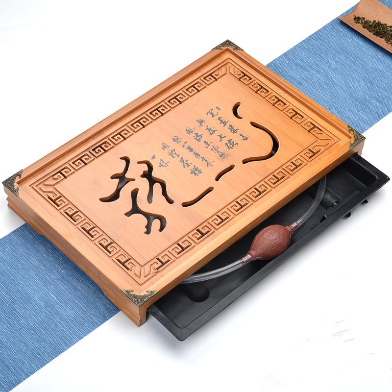 [해외][그로스] Teaboard 쿵푸 차 세트 서랍 타입 대나무 차 트레이 Gongfu 차 테이블 트레이 43 * 28 * 5cm 티 보드 큰 사이즈/[GRANDNESS] Teaboard Kung Fu Tea Set Drawer Type Bamboo Tea Tray