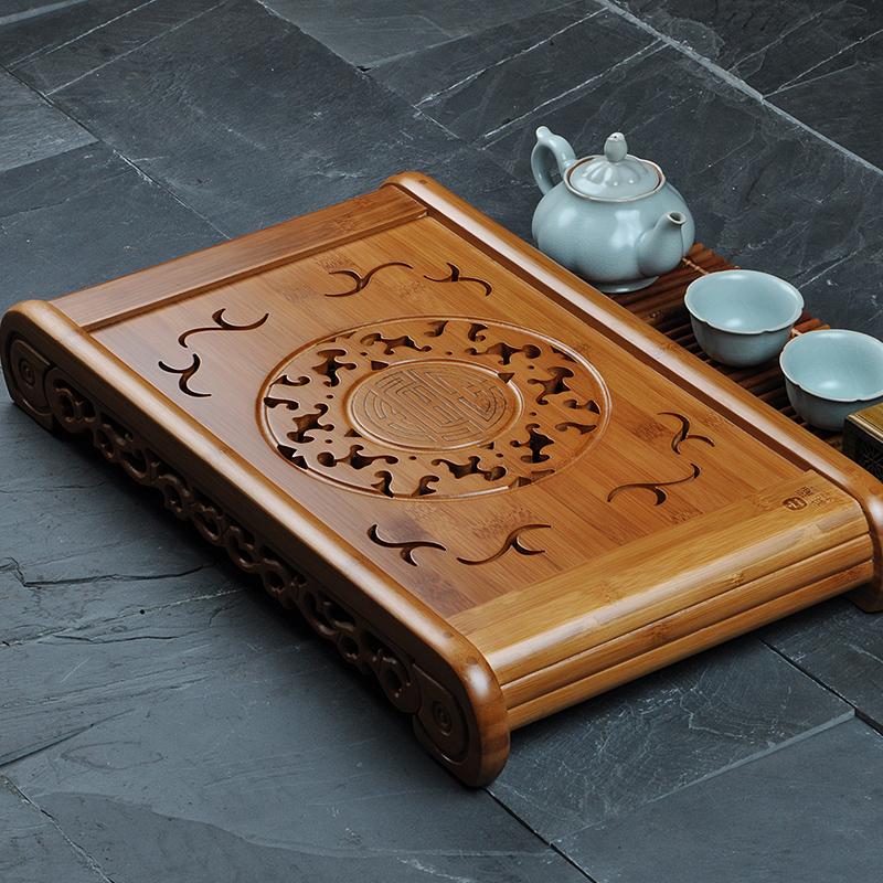 [해외][그로 니스] 콩 명나라 태양 동그라미 대나무 Gongfu 차 봉사 트레이 50 * 29cm 대나무 차 테이블  차 세트 대나무 물 차 트레이/[GRANDNESS] Kong Ming Solar Circle Bamboo Gongfu Tea Serving Tray