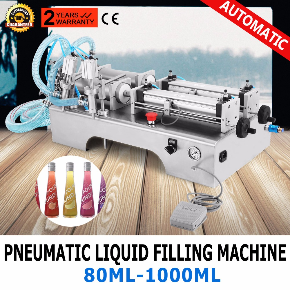 [해외]두 머리 공압 액체 충전 기계, 물 오일 우유 필러 기계, 1000 ml/Two Heads Pneumatic Liquid Filling Machine,Water Oil Milk Filler Machine,1000ml