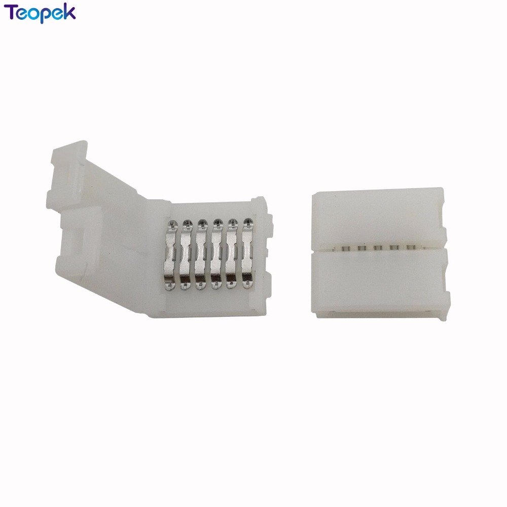 [해외]20pcs 6 핀 12mm PCB 스트립 솔더리스 FPC 클립 보드 커넥터 12mm 너비 6Pin RGB + CCT LED 스트립/20pcs 6 Pin 12mm PCB Strip to Strip Solderless FPC Snap Down Clip Board C