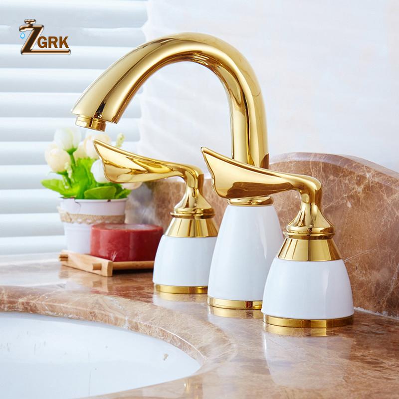 [해외]ZGRK 럭셔리 3 조각 세트 분지의 수도꼭지 욕실 믹서 데크 장착 싱크 탭 화장실의 수도꼭지 세트 황금 마침 믹서 도청/ZGRK Luxury 3 Pieces Set Basin Faucet Bathroom Mixer Deck Mounted Sink Tap Toi
