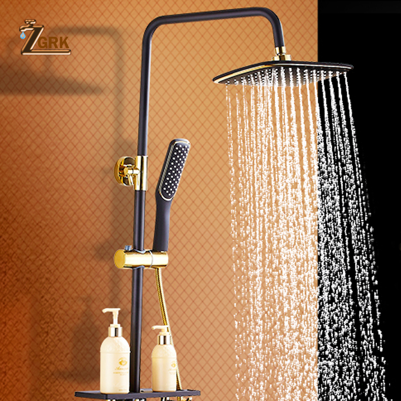 [해외]ZGRK 황동 검은 욕조 샤워 꼭지 비 샤워 헤드 욕실 샤워 세트 분배기 믹서 밸브 샤워 시스템 벽 마운트/ZGRK Brass Black Bath Shower Faucets Rain Shower Head Bathroom Shower Set Diverter Mix
