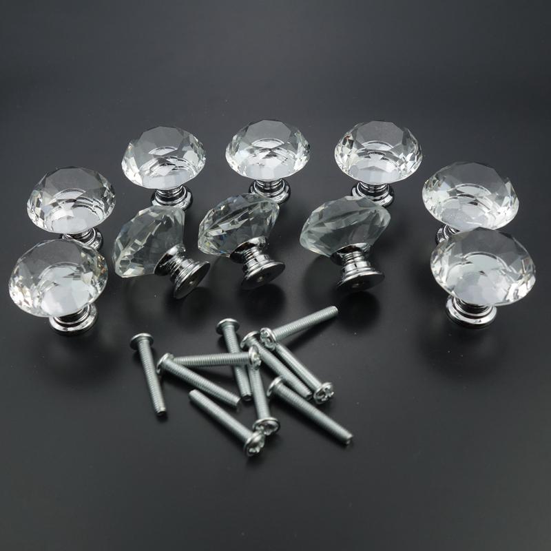 10 pcs 20-40mm 다이아몬드 모양 디자인 크리스탈 유리 손잡이 찬장 서랍 당겨 부엌 캐비닛 도어 옷장 하드웨어 처리