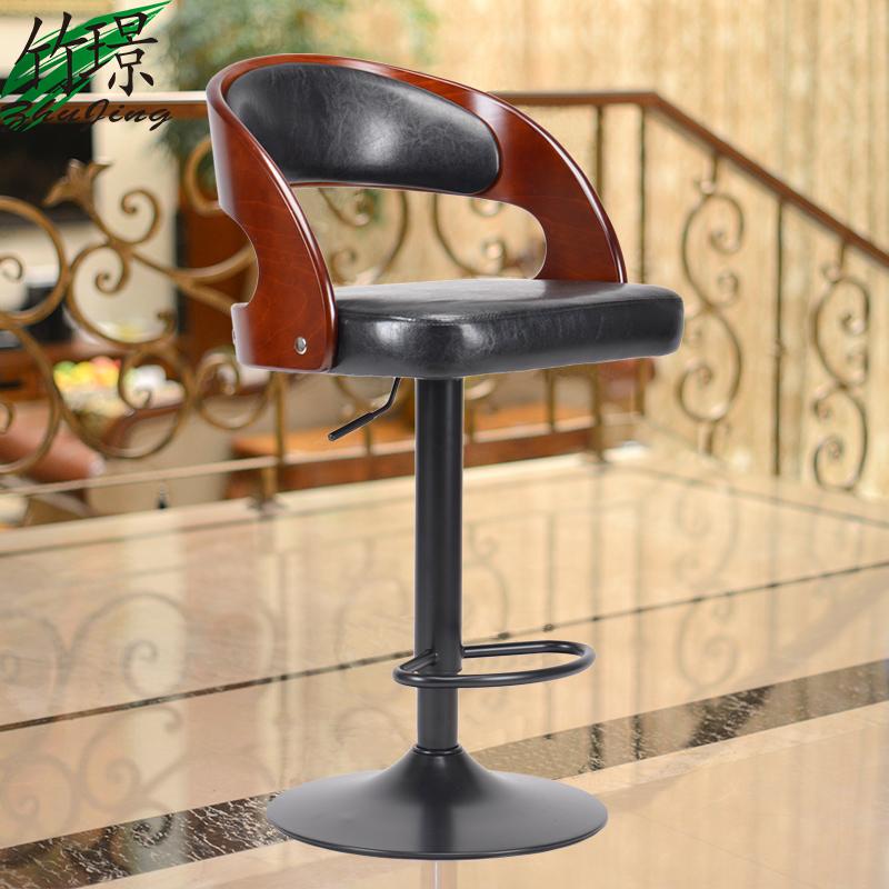 [해외]미국의 단단한 나무 개똥 바 의자 승강 유럽의 패션 바 의자/American solid wood barstool bar chair liftable  European fashion bar chair