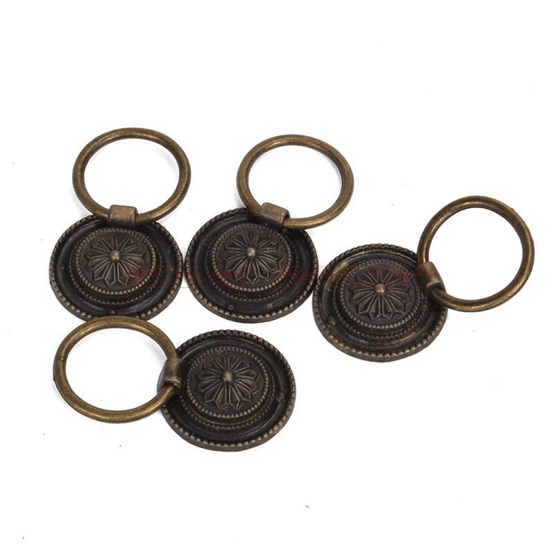 [해외]4 개 골동품 청동 라운드 드롭 빈티지 옷장 문 서랍 손잡이를 처리/4pcs Antique Bronze Round Drop Handle Vintage Closet Door Drawer Knob
