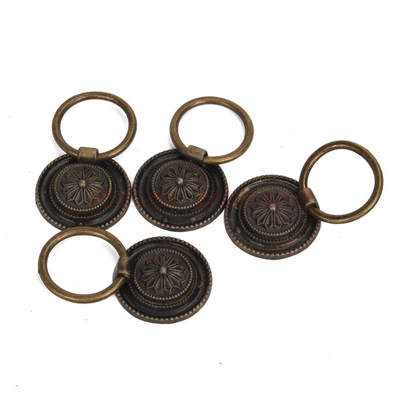 4pcs Antique Bronze Round Drop Handle Vintage Closet Door Drawer Knob 29*29mm Jewelry boxs/drawer Mini Retro Handles