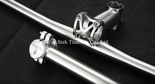 [해외]티타늄 3Al / 2.5V 자전거 부품 그룹 핸들 바 25.4mm / 31.8mm + 시트 포스트 27.2.mm / 31.6mm + 스템 25.4.mm / 31.6mm/Titanium 3Al/2.5V Bicycle Part Group Handlebar 25.4m