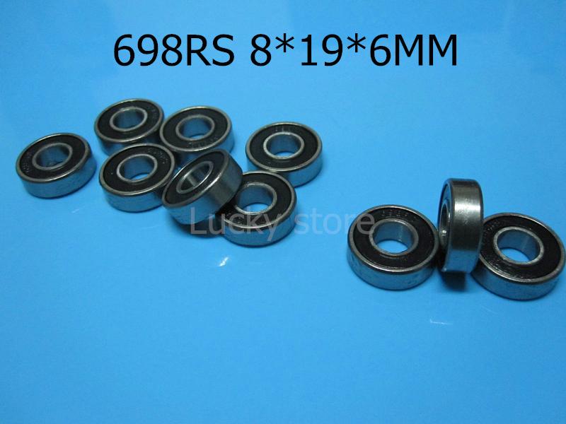 [해외]698RS 베어링 10pcs 고무 밀폐형 미니 베어링  698 698RS 8 * 19 * 6 MM 크롬 강철 깊은 홈 베어링/698RS bearings 10pcs rubber Sealed Miniature Mini Bearing Free shipping 698