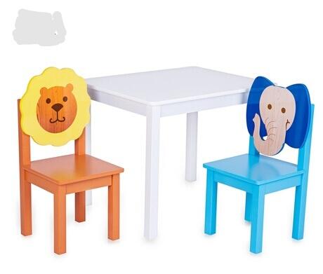 [해외]어린이 가구 1 세트 + 의자 2 세트 유치원 패널 나무 동물 어린이 가구 세트 전체 판매 최신 신품/Children Furniture Sets one desk+ two chairs sets kindergarten panel wooden animal childr