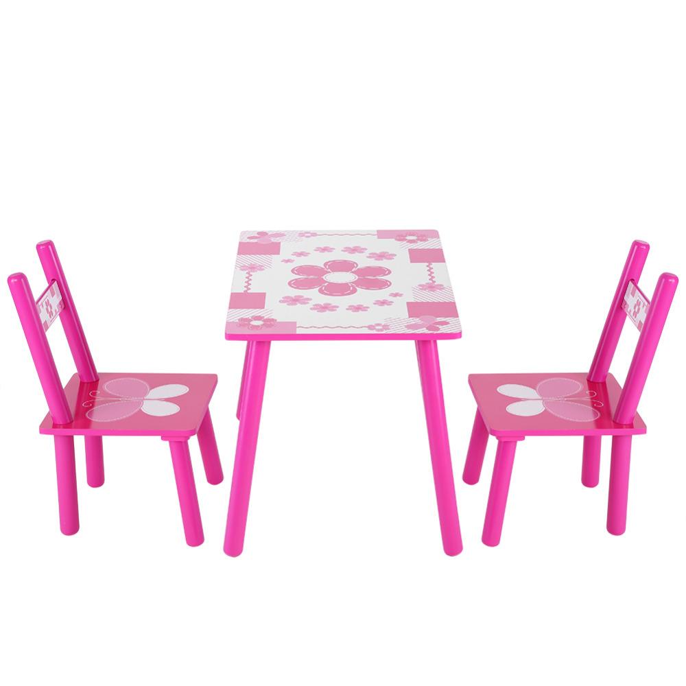 [해외]어린이 나무 꽃 어린이 테이블과 의자 차일 즈 게임 그림 그리기 책상 의자 침실 가구/Children Wooden Flowers Kids Table And Chair Childs Playing Games Painting Desk Chair Bedroom Furn