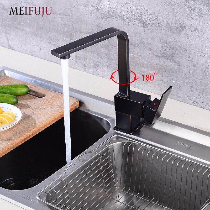 [해외]MEIFUJU 기름 긁힌 황동 검은 주방 수도꼭지 단일 손잡이 싱글 홀 주방 싱크 핫 & amp; 차가운 물 혼합기 탭 회 전형 검정색/MEIFUJU Oil Rubbed Brass Black Kitchen Faucet Single Handle Single