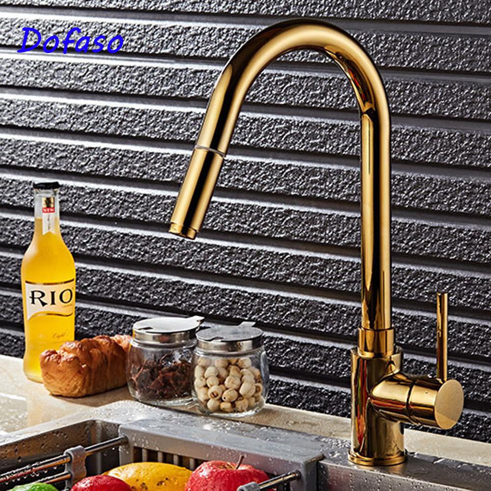 [해외]Dofaso 럭셔리 골든 디럭스 스프레이 믹서 탭 풀 아웃 스프레이 어 주방 수도꼭지 금 도금 수도꼭지 당겨/Dofaso luxury golden Deluxe Pull Out Spray Mixer Tap Pullout Sprayer Kitchen Faucet G