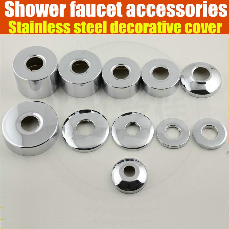 [해외]2pcs / lot 1/2 3/4 1 샤워 수도꼭지 장식 커버 크롬 마무리 스테인레스 스틸 커버 욕실 액세서리/2pcs/lot 1/2  3/4 1 shower faucet decorative cover chrome finish stainless steel cov