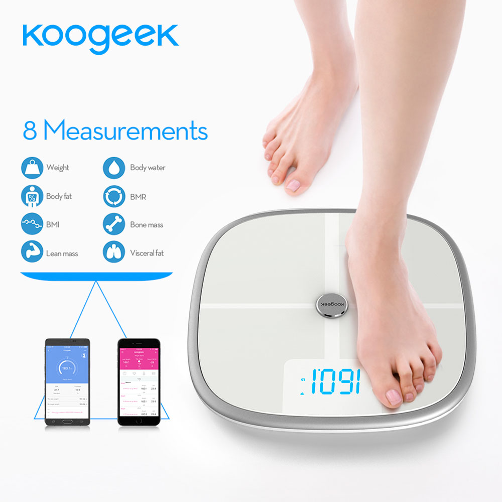[해외]Koogeek FDA 승인 된 스마트 스케일 Bluetooth Wi-Fi 동기화 측정 근육 뼈 질량 BMI BMR 지방 무게 체지방 물 지원 APP/Koogeek FDA Approved Smart Scale Bluetooth Wi-Fi Sync Measures
