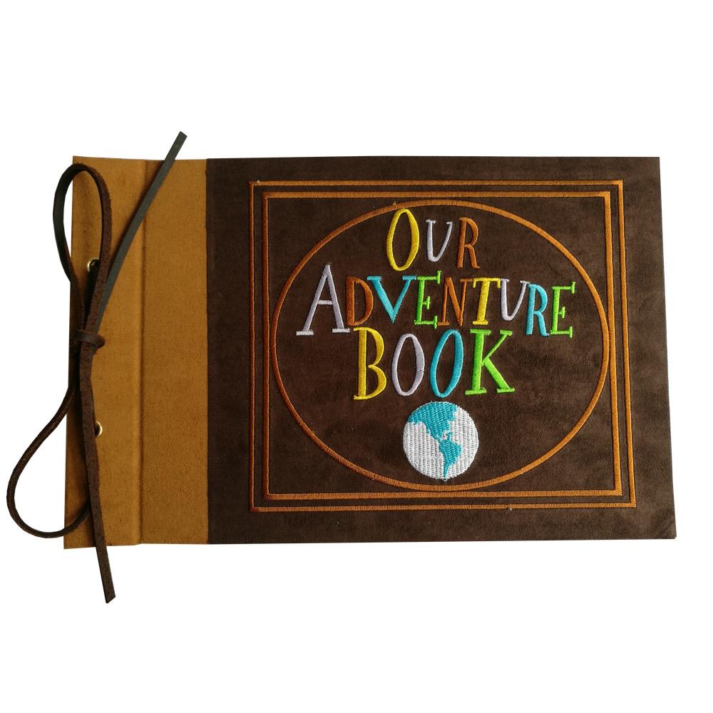 [해외]수 놓은 어드벤처 북, 스웨이드 하드 커버 스크랩북, 11.6 x 7.5 인치 (패턴 A)/Embroidered Our Adventure Book, Suede Hardcover Scrapbook, 11.6 x 7.5 inch (Pattern A)