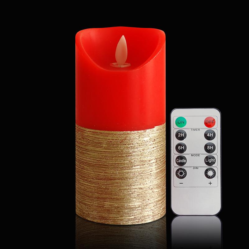 <span style=''>[해외]1Pc 골드 레드 LED Candlesremote 컨트롤 기둥 냄새가 좋은 boug..</span>