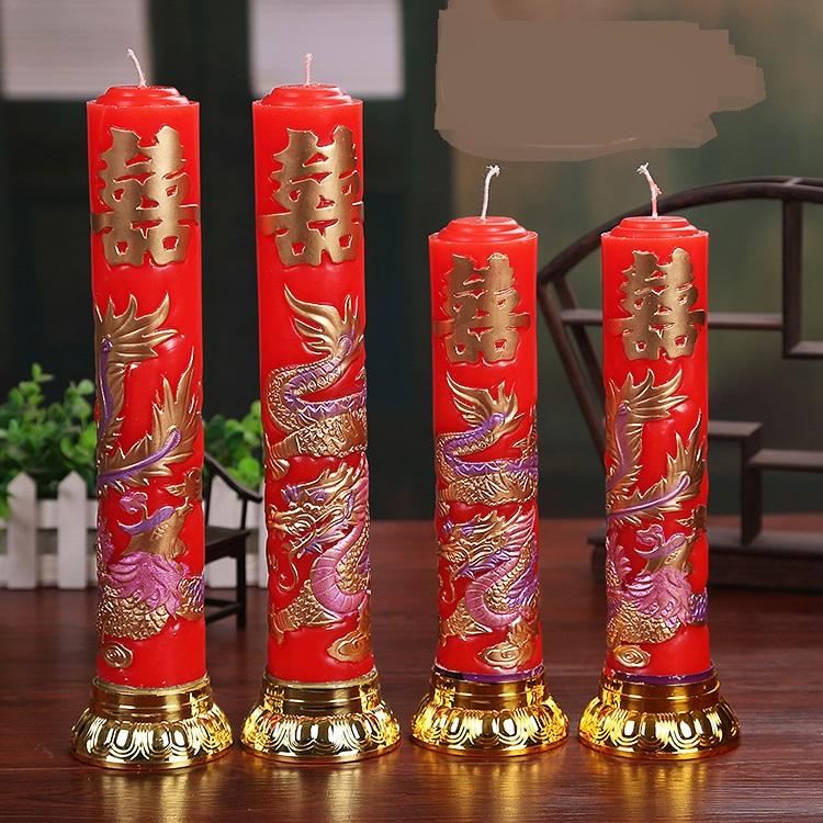 [해외]어 번체 웨딩 양초 레드 러브 Flameless 양초 드래곤 피닉스 양초 생일 축제 웨딩 장식/Chinese Traditional Weddings Candles Red Love Flameless Candles Dragon Phoenix Candles Birthd