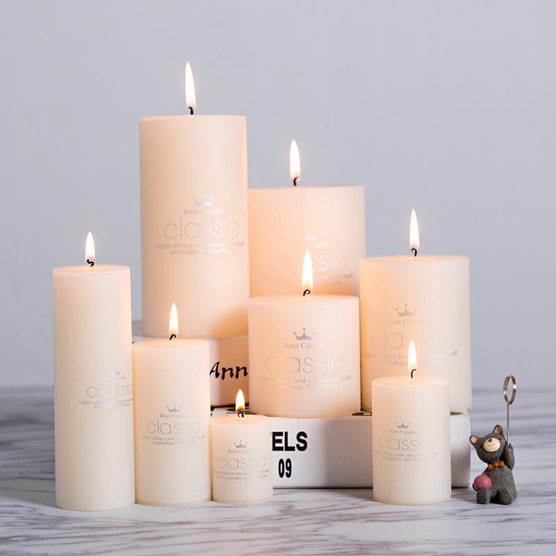 [해외]로맨틱 무연 양초 웨딩 캔들 아이보리 화이트 스몰 클래식 실린더 캔들 크리스마스 웨딩 장식 발렌타인 데이/Romantic Smokeless Candle Wedding Candle Ivory White Small Classic Cylinder Candle Chri