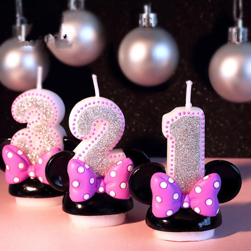 [해외]생일 그림 번호 촛불 분홍색 꼬꼬마 미키 미니 캔들 소녀 아기 아이 생일 생일 기념일 촛불 손으로 만든 향기/Birthday Figure Number Candle Pink Bowknot Mickey Minnie Candle Girl Baby Kid Child B