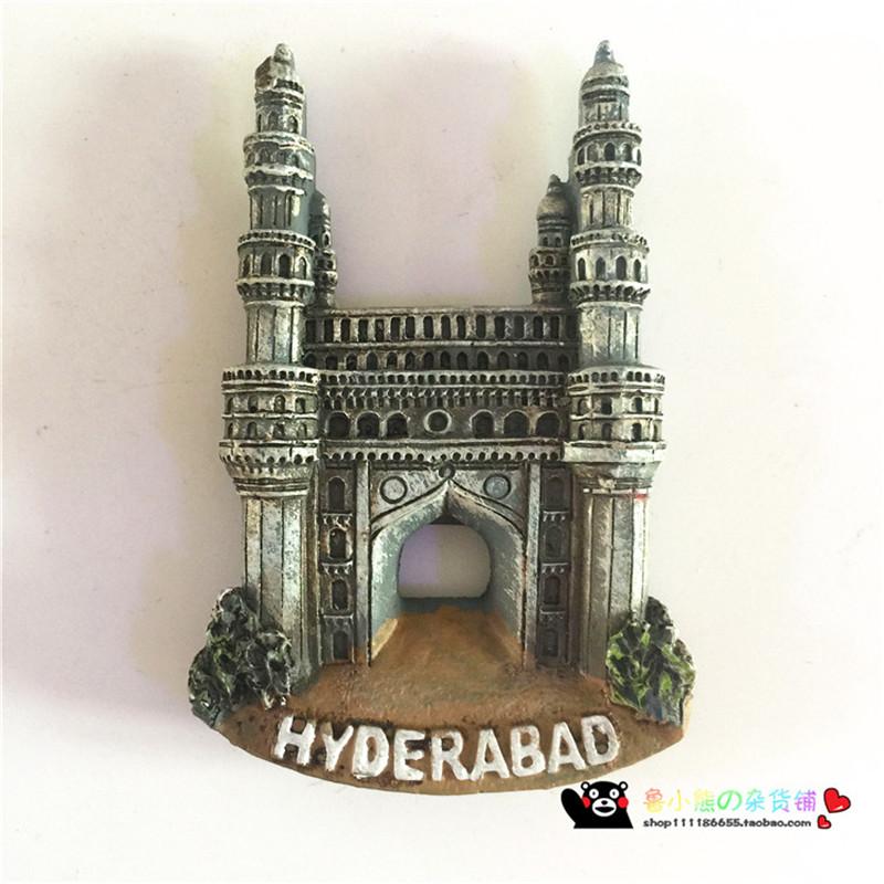 [해외]Haiderabad 인도 냉장고 자석 여행 기념품 손으로 도시의 랜드 마크 냉장고 스티커 주방 장식 메시지 게시/Haiderabad India Fridge Magnet Travel Souvenir Hand-colored City Landmark Refrigera