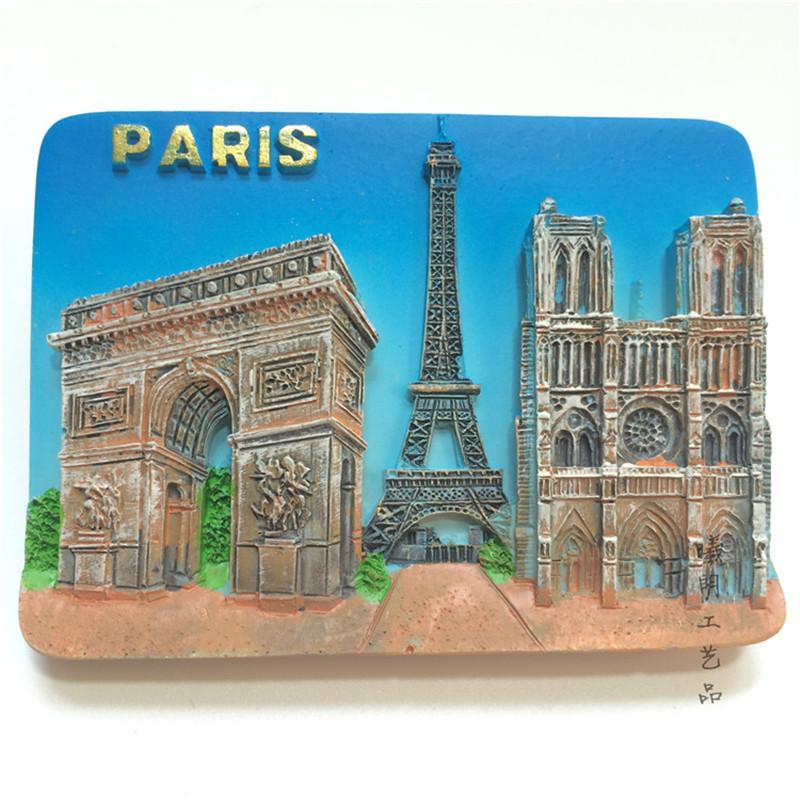 [해외]3D 프랑스 파리 건물 개선문 에펠 탑 노트르담 드 파리 냉장고 냉장고 자석 주방 자석 스티커/3D French Paris Building Arc de Triomphe Eiffel Tower Notre Dame de Paris Fridge Refrigerator