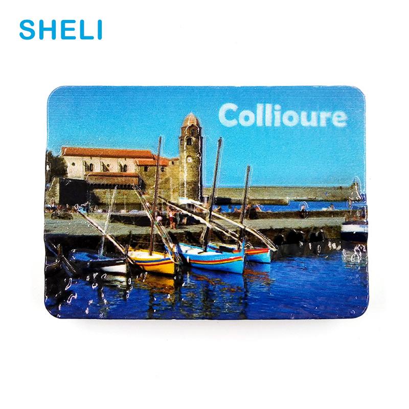 [해외]프랑스 여행 기념품 풍경 Collioure 3D 하이 엔드 수지 냉장고 자석 선물 냉장고 자석 스티커 홈 장식/France Travel Souvenir Scenery Collioure 3D High-end Resin Fridge Magnets Gift Refri