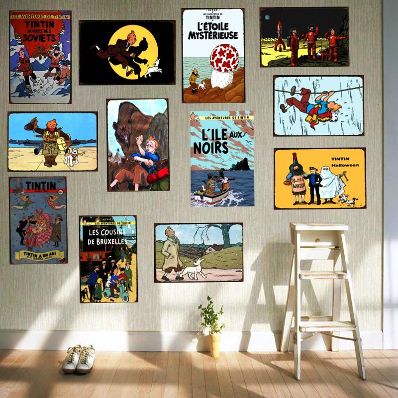 <span style=''>[해외]틴틴 만화 영화 주석 기호 금속 접시 철 그림 어린이 룸 벽 바 커피 홈 아트 공예..</span>