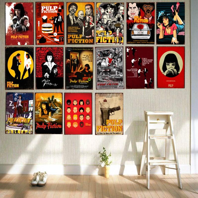 <span style=''>[해외]?펄프 픽션 클래식 영화 주석 사인 금속판 철 그림 어린이 방 벽 바 커피 홈 아트..</span>