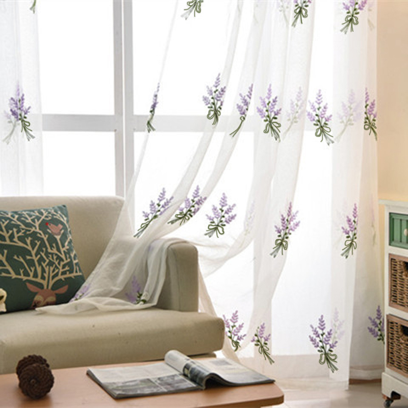 [해외]간단한 화이트 라벤더 자수 장식 Tulle Voile Curtains 침실 연구 The Living Room Tulle 258 & 20/Simple White Lavender embroidered Tulle embroidered Voile Curtains