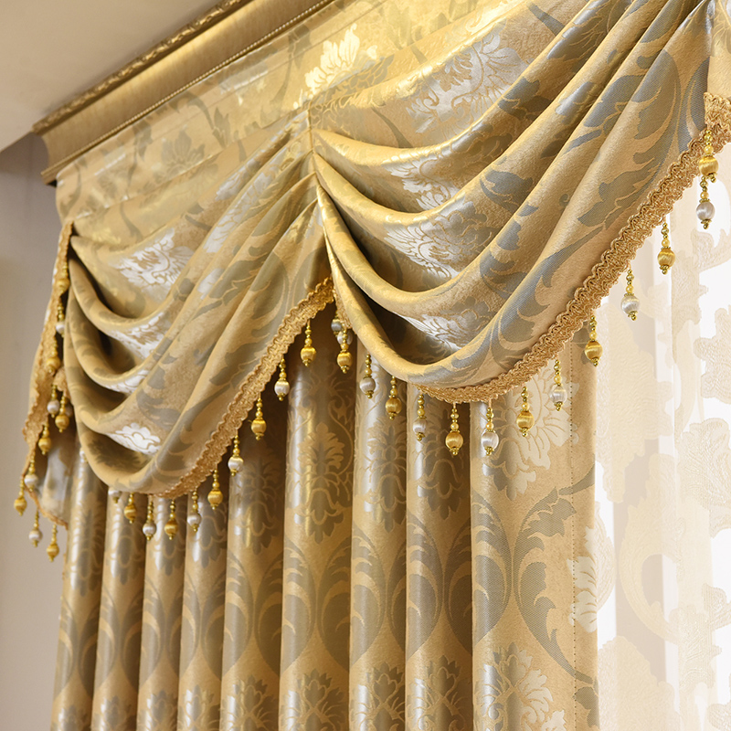 [해외]커튼 Tulle for Living Room Dining Valance 럭셔리 유럽 스타일 짙은 음영 현대 창틀 맨틀 빌라/Curtains Tulle for Living Room Dining Bedroom Valance Luxury European Style T