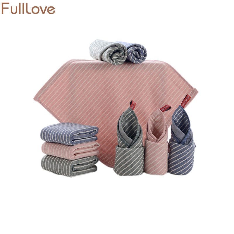 [해외]FullLove 3PCS / Set 35 * 35cm 코튼 스트라이프 타올 마이크로 화이버 스퀘어 베이비 페이스 타올 흡수성 헤어 타월 for Kids Home Textile/FullLove 3PCS/Set 35*35cm Cotton Striped Towels