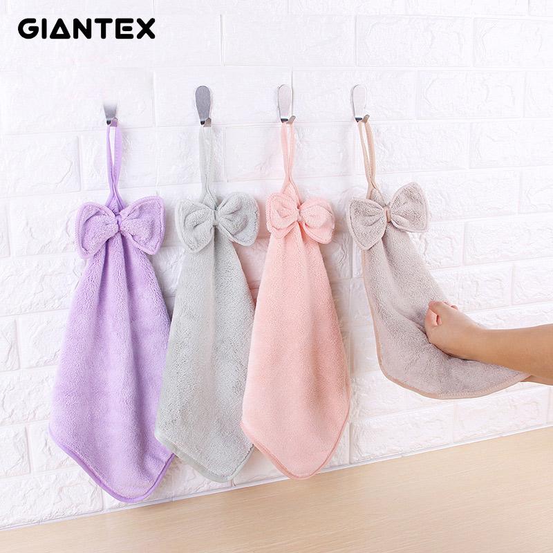 [해외]GIANTEX 러블리 바운 넛 매우 부드러운 흡수성 마이크로 화이버 핸드 타올 욕실 주방 타월 청소 천 30x30cm U1478/GIANTEX Lovely Bowknot Super Soft Absorbent Microfiber Hand Towel Hanging