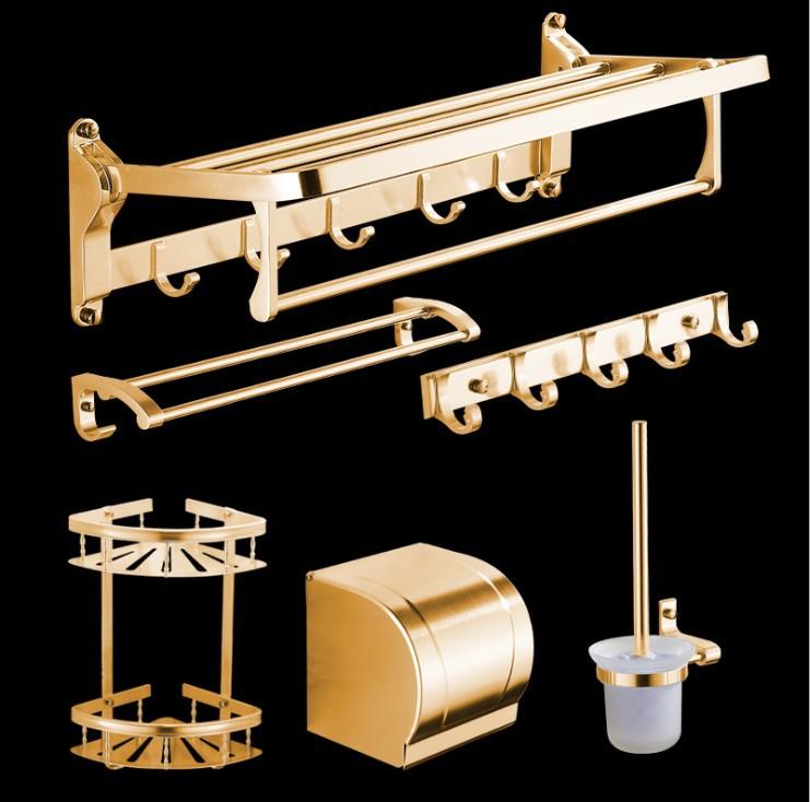 [해외]우주 정장 유럽 골드 알루미늄 욕실 선반 접는 6 세트 골동품 욕실 액세서리/Space Suit European Gold Aluminum Bathroom Shelf Folding 6 Items Into A Set Antique Bathroom Accessorie