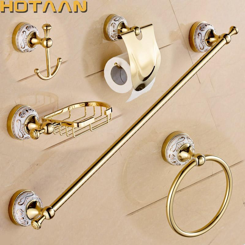 [해외]HOTAAN 스테인리스 목욕탕 부속품 세트, 로브 걸이, 서류상 홀더, 수건 막대기, 비누 바구니, 금 화장실 세트, HT-810200-5/HOTAAN Stainless steel Bathroom Accessories Set,Robe hook,Paper Hold