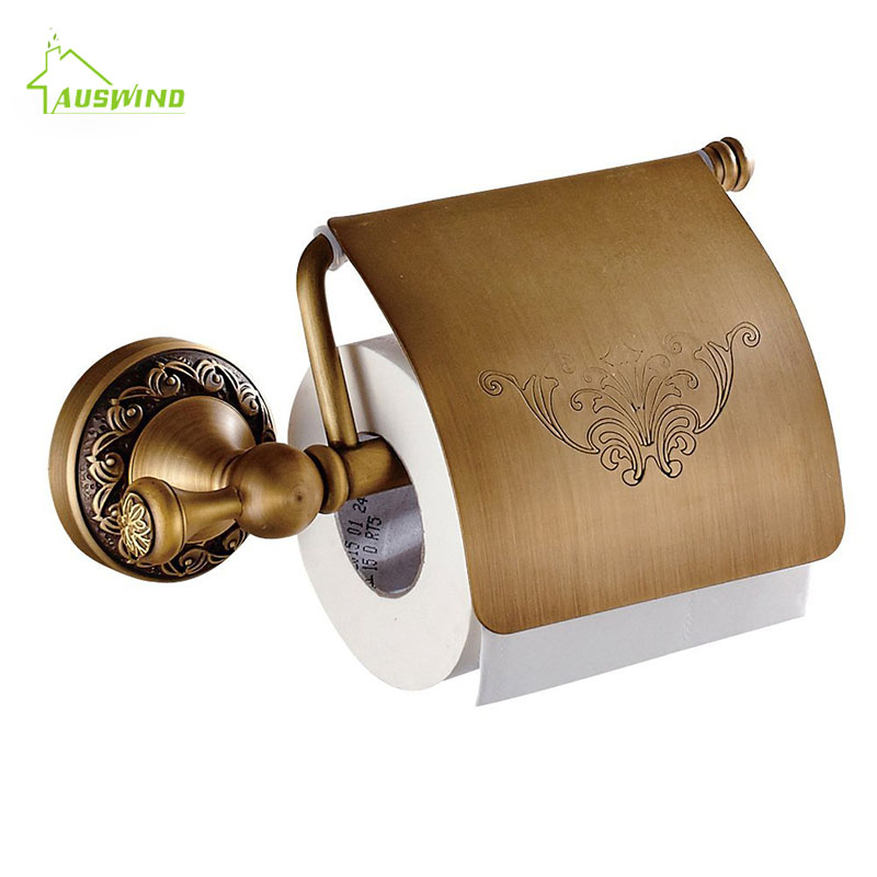[해외]골드 황동 화장지 홀더 꽃 도금 휴지 홀더 유럽 욕실 벽 마운트 욕실 액세서리 세트/Gold Brass Toilet Paper Holders Flower Plated Tissue Paper Holder European Bathroom Wall Mounted ba