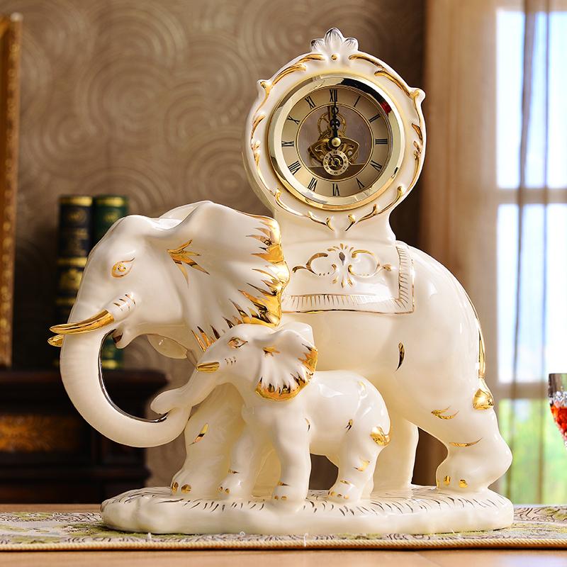 [해외]대륙 레트로 시계 시계 세라믹 대형 거실 침실 럭키 코끼리 시계 럭셔리 장식 장식/Continental Retro Clock Clock ceramic large living room bedroom Lucky Elephant watch luxury decorati