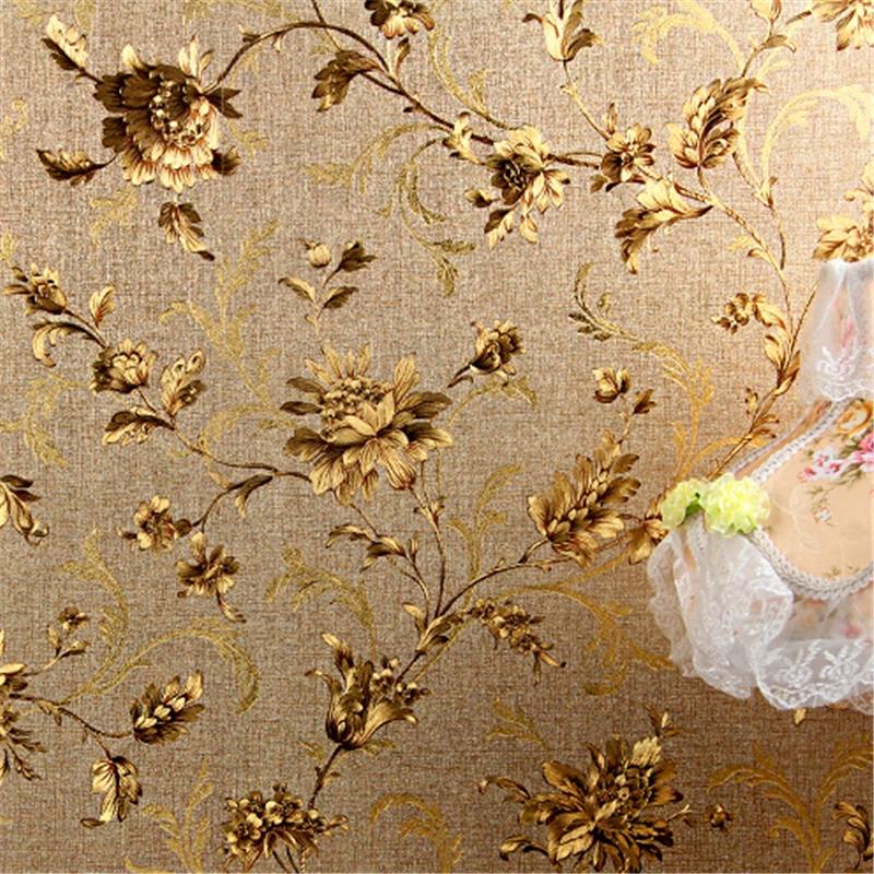 [해외]?현대  고전 금박 벽지 꽃 골든 배경 호텔 레스토랑 입구 거실 벽지/ Modern Chinese classical gold foil wallpaper flower golden background hotel restaurant entrance living roo