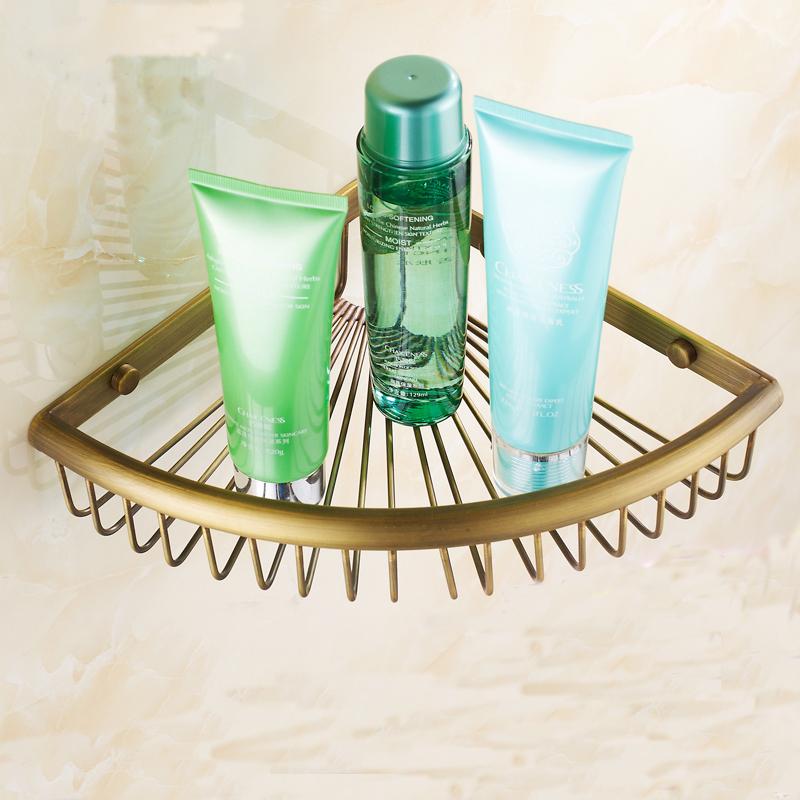 [해외]단일 계층 그물 형 욕실 선반 랙 삼각형 코너 선반, 유럽 골동품 바구니 스타일의 황동 벽은 스토리지 선반을 탑재/Single tier nets type bathroom shelves rack triangle corner shelf,European antique