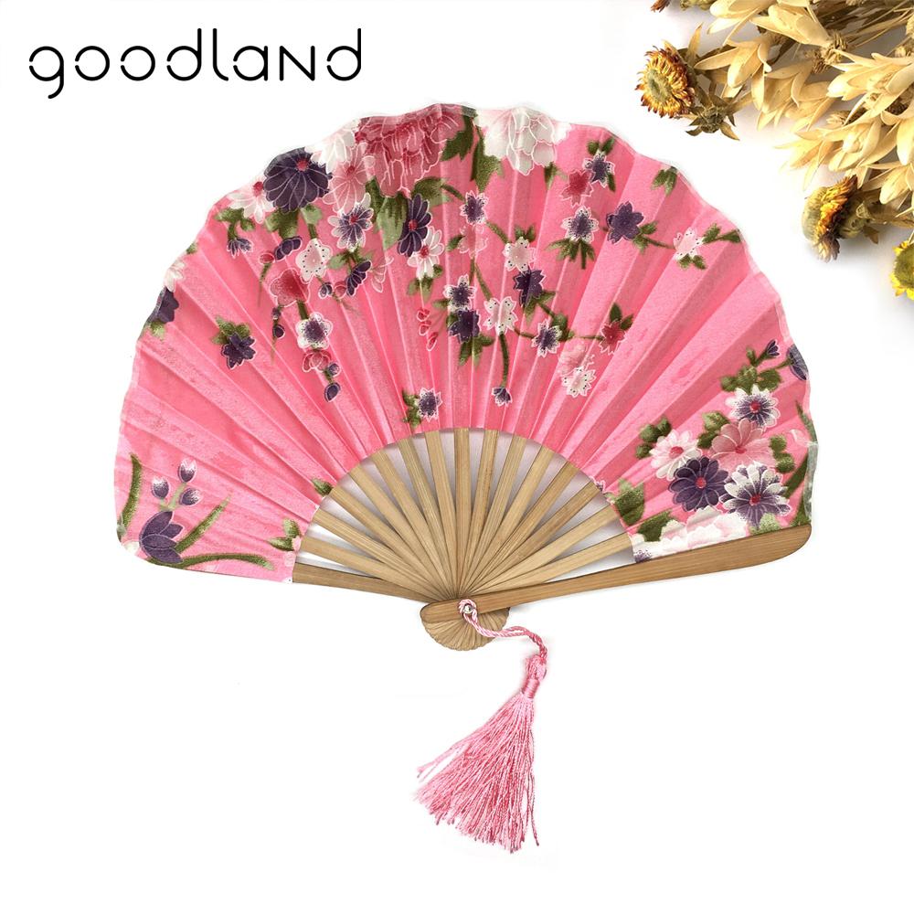 [해외]??1PCDelicate 여자 패브릭 꽃 패턴 주머니 접는 대나무 팬을 포장/  1PCDelicate Packaging Japanese Fabric Floral Pattern Pocket Folding Bamboo Fans For Girls Women