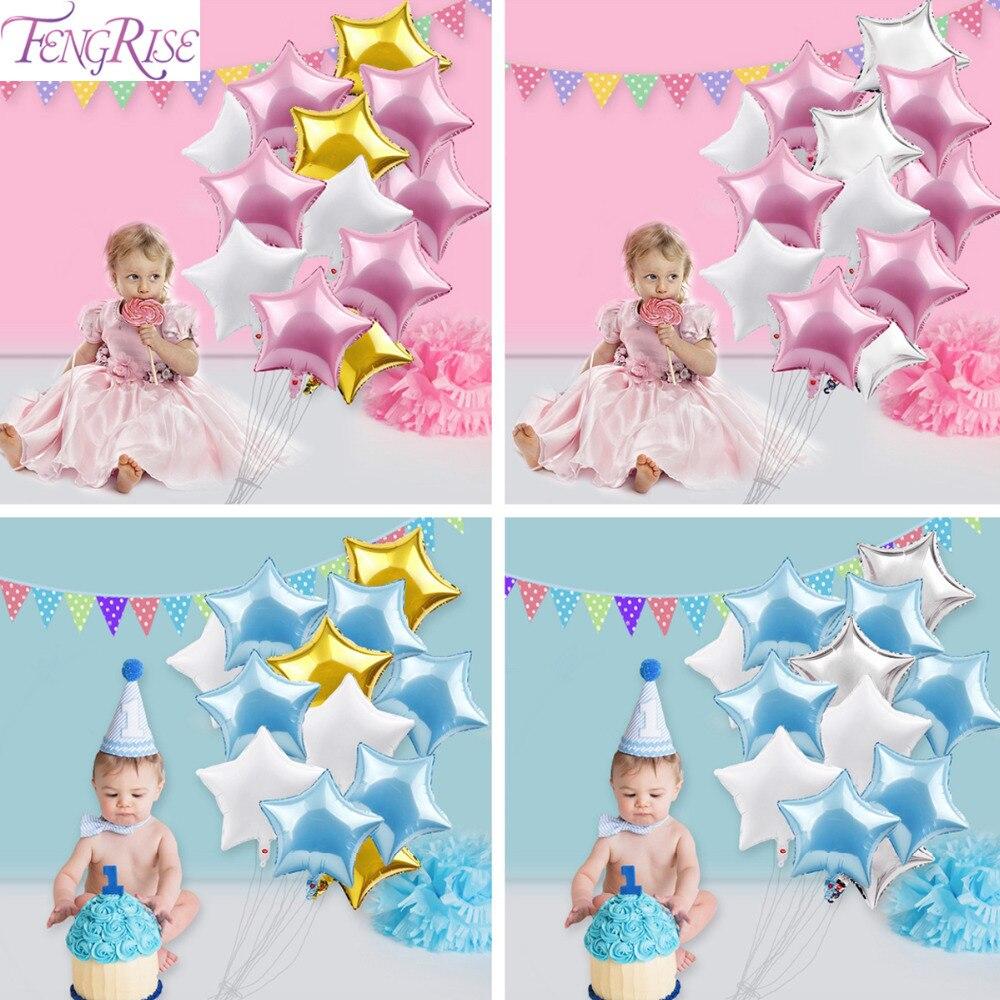 [해외]FENGRIS 12pc 베이비 샤워 풍선 18inch 핑크 화이트 슬리버 스타 헬륨 호일 풍선 1 생일 장식 Babyshower Party Supplies/FENGRIS 12pc Baby Shower Balloon 18inch Pink White Sliver S