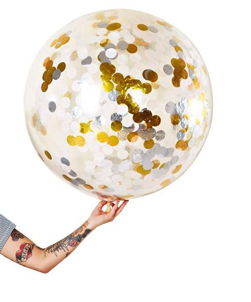 [해외]1PC 36 인치 웨딩 장식 대형 골드 실버 색종이 풍선 큰 지우기 라텍스 Balloons 포일 스틴 파티 파티 호의 베이비/1PC 36 Inch Wedding Decorations Large Gold Silver Confetti Balloon Big Clear