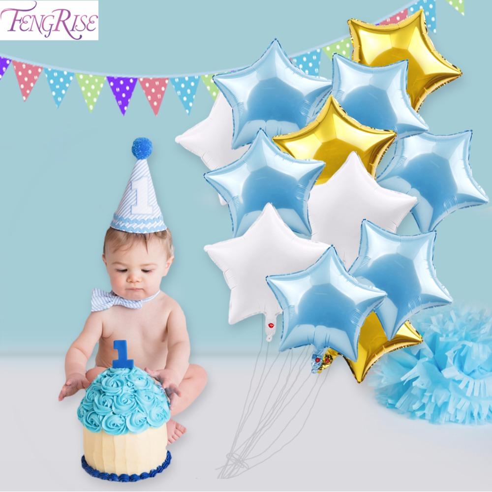 [해외]FENGRISE 베이비 샤워 12pcs 18inch 호일 풍선 첫 번째 생일 파티 장식 아이 헬륨 스타 풍선 내 1 번째 생일 장식/FENGRISE Baby Shower 12pcs 18inch Foil Balloons First Birthday Party Dec
