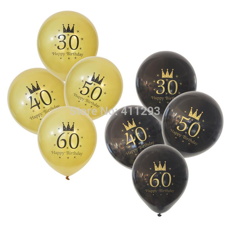 [해외]12pcs / lot 30 40 50 60 생일 파티 풍선 골드 인쇄 ballons 골드 블랙 파티 장식 생일 헬륨 풍선/12pcs/lot  30 40 50 60 birthday party balloon gold printed ballons gold black