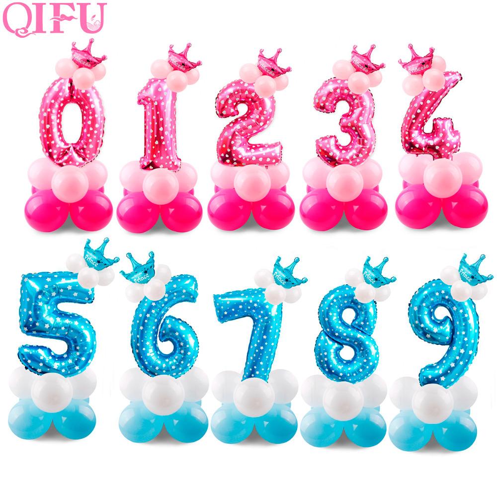 [해외]QIFU 17pcs 핑크 블루 번호 호일 풍선 베이비 샤워 1 2 3 4 5 6 7 8 9 년 동안 행복한 생일 파티 장식 아이들 파티 호의/QIFU 17pcs Pink Blue Number Foil Balloons Baby Shower 1 2 3 4 5 6 7